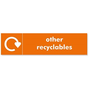 Image of Stewart Superior Recycling Bin Sticker Other Recyclables 200x50mm Self Adhesive Vinyl Orange Ref BS002