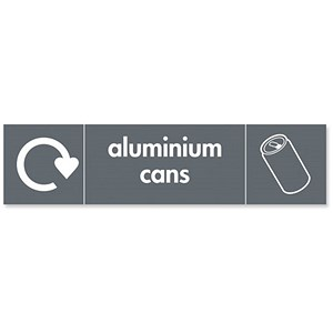 Image of Stewart Superior Recycling Bin Sticker Aluminium Cans 200x50mm Self Adhesive Vinyl Grey Ref BS003