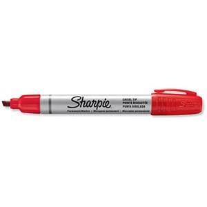 Image of Sharpie Metal Permanent Marker / Small Chisel Tip / Red / Pack of 12