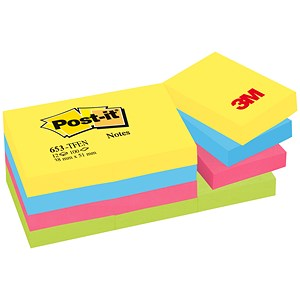 Image of Post-it Colour Notes / 38x51mm / Energetic Palette Rainbow Colours / Pack of 12 x 100 Notes