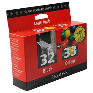 Image of Lexmark 32/33 Black and Colour Inkjet Cartridges (2 Cartridges)