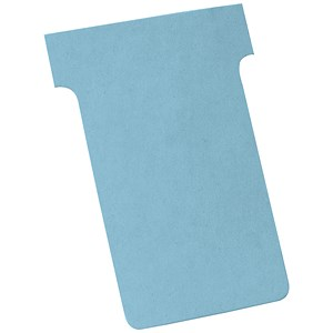Image of Nobo T-Cards 160gsm Tab Top 15mm W60x Bottom W48.5x Full H85mm Size 2 Light Blue Ref 2002006 [Pack 100]