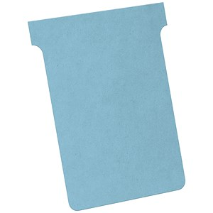 Image of Nobo T-Cards 160gsm Tab Top 15mm W92x Bottom W80x Full H120mm Size 3 Light Blue Ref 2003006 [Pack 100]