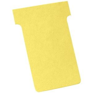 Image of Nobo T-Cards 160gsm Tab Top 15mm W60x Bottom W48.5x Full H85mm Size 2 Yellow Ref 2002004 [Pack 100]