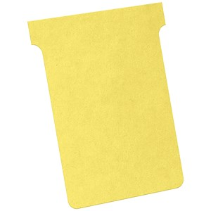 Image of Nobo T-Cards 160gsm Tab Top 15mm W92x Bottom W80x Full H120mm Size 3 Yellow Ref 2003004 [Pack 100]