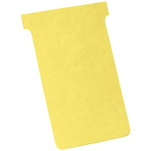 Image of Nobo T-Cards 160gsm Tab Top 15mm W124x Bottom W112x Full H180mm Size 4 Yellow Ref 2004004 [Pack 100]