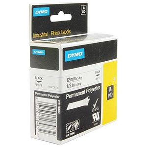 Image of Dymo RhinoPRO Industrial Tape Permanent Polyester 12mmx5.5m White Ref S0718210