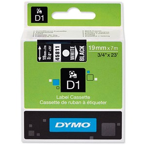 Image of Dymo D1 Tape for Electronic Labelmakers 19mmx7m White on Black Ref 45810 S0720910
