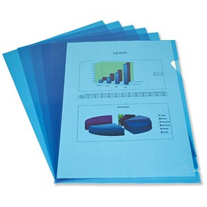 Image of Elba Cut Flush Folders / 80 micron / A4 / Open Two Sides / Blue / Pack of 100
