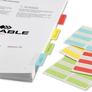 Image of Durable QuickTab Index Tabs / Non-Permanent / Single Sided / 40mm / Assorted Colours / Pack of 48