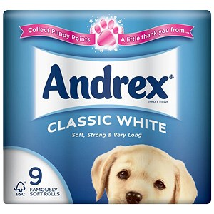 Image of Andrex Toilet Rolls / Classic White / 9 Rolls