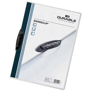 Image of Durable Swingclip Folders / Polypropylene / 30 Sheet Capacity / A4 / Black / Pack of 25