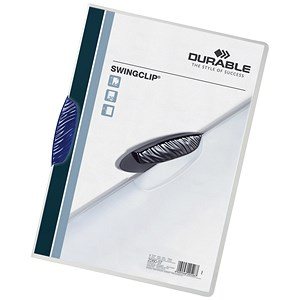 Image of Durable Swingclip Folders / Polypropylene / 30 Sheet Capacity / A4 / Blue / Pack of 25