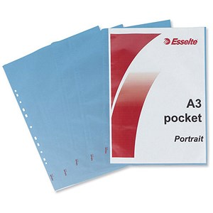 Image of Esselte Multipunched Reinforced Pockets / Polypropylene / Top-opening / A3 Portrait / Clear / Pack of 10
