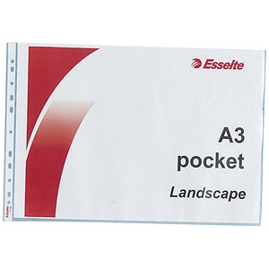 Image of Esselte Multipunched Reinforced Pockets / Polypropylene / Top-opening / A3 Landscape / Clear / Pack of 10