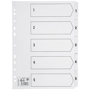 Image of 5 Star Index Dividers / 1-5 / Mylar Tabs / A4 / White