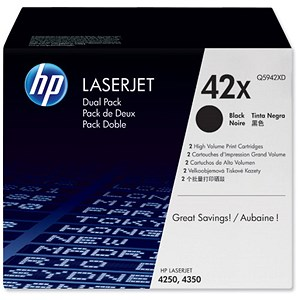 Image of HP 42X Black Laser Toner Cartridge (Twin Pack)