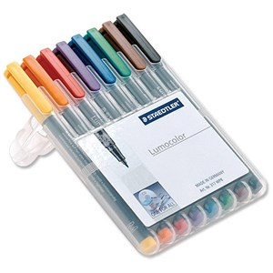 Image of Staedtler 318 Lumocolor Pen Permanent / Fine / Assorted Colours / Wallet of 8