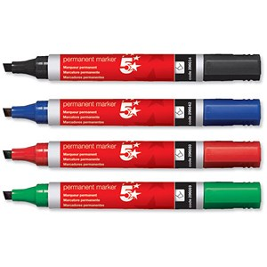 Image of 5 Star Permanent Marker / Chisel / Assorted Colours / Wallet of 4