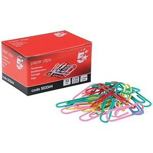 Image of 5 Star Large Metal Paperclips - 33mm / Assorted / Pack of 10x100