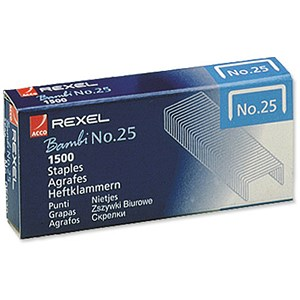 Image of Rexel No. 25 Staples (4mm) - Pack of 20 x 1500 Staples