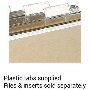 Image of Elba VerticFiles Plastic Tabs For Suspension Files / Clear / Pack of 50