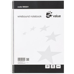 Image of Everyday Wirebound Notebook / A4 / Ruled / 100 Pages / Pack of 10