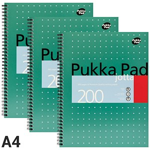 Image of Pukka Pad Wirebound Jotta Notebook / A4 / Ruled / 200 Pages / Pack of 3