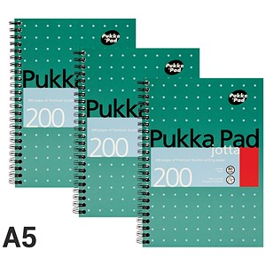 Image of Pukka Pad Wirebound Jotta Notebook / A5 / Ruled / 200 Pages / Pack of 3
