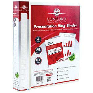 Image of Concord Executive Presentation Ring Binder / 4 D-Ring / 40mm Spine / 25mm Capacity / A4 / Clear / Pack of 10