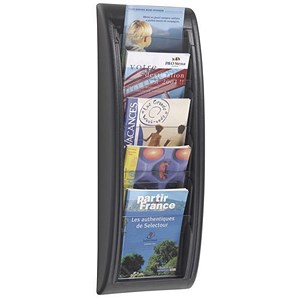 Image of Fast Paper Wall-Mounted Literature Holder / 5 x A5 Pockets / Black
