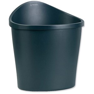 Image of Rexel Agenda 2 Waste Bin / Elliptical / Handle on Rear / 18 Litres / W413xD330xH457mm / Charcoal