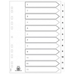 Image of Elba Subject Dividers / 1-12 / Clear Tabs / A4 / White