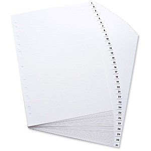 Image of Elba Polypropylene Index / Europunched / A4 / 1-31 White