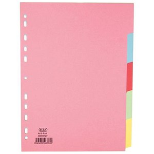 Image of Elba Card Dividers / Europunched / 5-Part / A4 / Assorted