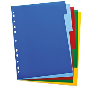 Image of Elba Polypropylene Dividers / Europunched / A4 / 5 Part / Multicoloured