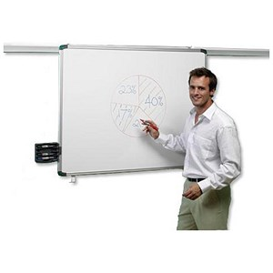 Image of Nobo Pro-Rail Magnetic Drywipe Board / Aluminium Trim / 1200mm
