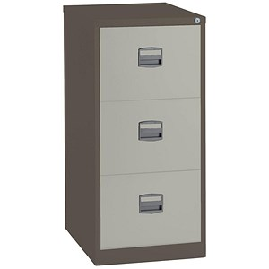 Image of Trexus 3-Drawer Filing Cabinet / Foolscap / Brown & Cream