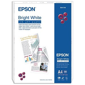Image of Epson A4 Inkjet Paper / Bright White / 90gsm / Ream (500 Sheets)