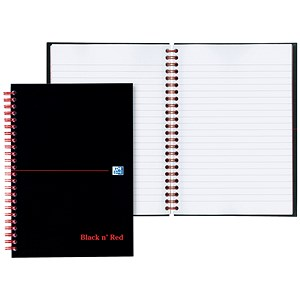 Image of Black n' Red Glossy Black Wirebound Notebook / A6 / Ruled & Perforated / 140 Pages / Pack of 5