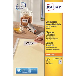 Image of Avery Removable Laser Labels / 27 per Sheet / 63.5x29.6mm / White / L4737REV-25 / 675 Labels