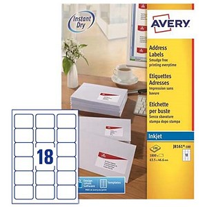 Image of Avery Quick DRY Inkjet Addressing Labels / 18 per Sheet / 63.5x46.6mm / White / J8161-100 / 1800 Labels