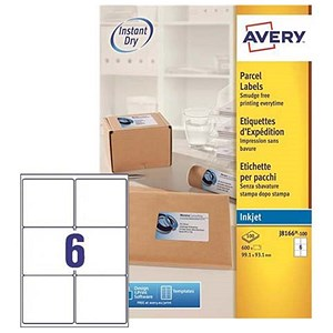 Image of Avery Quick DRY Inkjet Addressing Labels / 6 per Sheet / 99.1x93.1mm / White / J8166-100 / 600 Labels