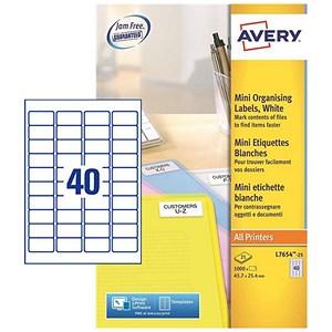 Image of Avery Laser Mini Labels / 40 per Sheet / 45.7x25.4mm / White / L7654-25 / 1000 Labels