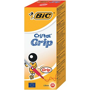 Image of Bic Cristal Grip Ball Pen / Clear Barrel / Red / Pack of 20