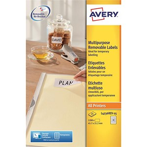 Image of Avery Removable Laser Labels / 48 per Sheet / 45.7x21.2mm / White / L4736REV-25 / 1200 Labels