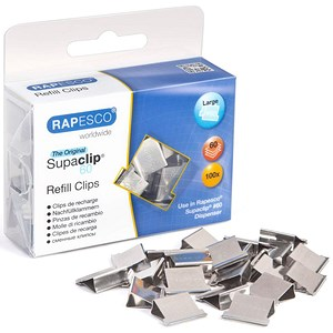 Image of Rapesco Supaclip 60 Refill Clips / Stainless Steel / Pack of 100