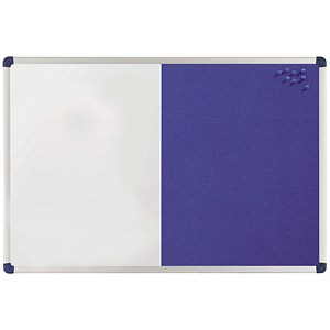 Image of Nobo Classic Combination Board / Magnetic Drywipe & Felt / W900xH600mm / Blue