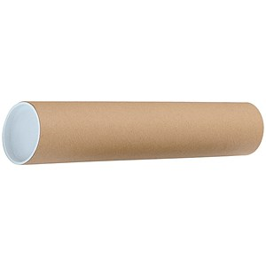 Image of Cardboard Postal Tube with Plastic End Caps / L450xDia.75mm /Pack of 12