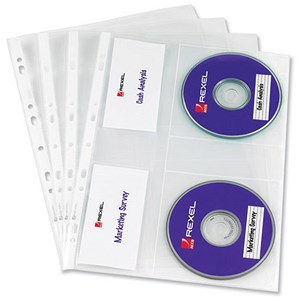 Image of Rexel Nyrex Multipunched CD Pockets For 2 CDs / A4 / Clear / Pack of 5
